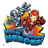 Marvel Super Hero Squad Badge: High Flying Heroes! Silver Surfer and Iron Man Flying Poster