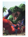 Avengers Academy 25 Cover: Giant Man, Mettle, and Hazmat Fighting and Escaping a Dinosaur Prints by Rodin Esquejo