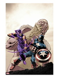 Hawkeye: Blindspot No.2 Cover: Hawkeye and Captain America Fighting Prints by Mike Perkins