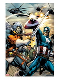 Battle Scars No.2: Captain America and Task Master Fighting Print by Scot Eaton