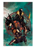 Klaws of The Panther 4 Cover: Black Widow and Black Panther Posing Prints by Mike Del Mundo