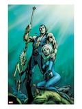 Fantastic Four 585 Cover: Namor and Invisible Woman Posing Posters by Alan Davis