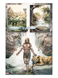 Ka-Zar 4: Panels with Ka-Zar and Zabu in front of a Waterfall Posters by Pascal Alixe