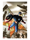 Captain America No.1 Cover: Captain America Jumping Prints by Steve MCNiven