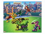 Marvel Super Hero Squad: Thor, Loki, Dr. Doom, Iron Man, Abomination, Hulk, and Hawkeye Throwing Prints