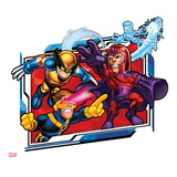 Marvel Super Hero Squad Badge: Wolverine, Magneto, Iceman, and Cyclops Shooting Poster