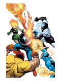 Captain America & The Korvac Saga No.2 Cover: Captain America Fighting Guardians of the Galaxy Print by Craig Rousseau