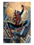 FF No.1: Spider-Man Swinging Between Buildings with his Web Poster by Steve Epting