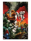 FF No.10 Cover: Invisible Woman, Thing, and Spider-Man Fighting Prints by Steve Epting