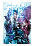 Iron Man/Thor 4 Cover: Thor, Iron Man, and High Evolutionary Combining Energy Forces Print by Stephen Segovia