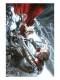 The Mighty Thor 12 Cover: Thor and Tanarus Fighting Art by Gabriele DellOtto