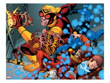 Avengers Academy No.4: Tigra, Speedball, and Wasp Fighting Print by Mike McKone