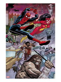 Avengers No.5: Spider-Man and Spider Woman Swinging Posters av John Romita Jr.