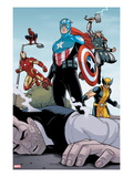 Heroic Age: One Month to Live 5: Captain America, Wolverine, Iron Man, Thor, and Spider-Man Print by Jamie McKelvie