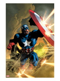 Secret Avengers No.12 Cover: Captain America Fighting with his Shield Posters by Mike Deodato Jr.