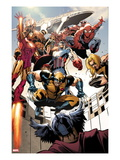 Annihilators: Earthfall No.1: Wolverine, Captain America, Iron Man and Others Jumping and Falling Print by Tan Eng Huat