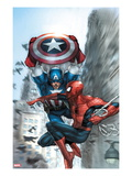 Avenging Spider-Man No.5 Cover: Spider-Man and Captain America Poster von Leinil Francis Yu