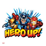Marvel Super Hero Squad Badge: Hero Up! Captain America, Wolverine, and Iron Man Charging Affiches