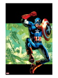 Captain America: Man Out of Time No.4 Cover: Captain America Jumping with his Shield Posters by Bryan Hitch