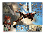 Invincible Iron Man No.32: Panels with Iron Man Shooting Prints by Salvador Larroca