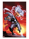 Astonishing Thor 3 Cover: Thor Throwing Mjolnir at Sunset Art by Ed McGuiness