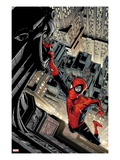 Marvel Adventures Spider-Man 5 Cover: Spider-Man Swinging from a Tall Building Prints by Patrick Scherberger