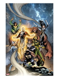 Alpha Flight 6 Cover: Puck, Snowbird, Northstar, Aurora, Guardian, Sasquatch, Shaman and Marina Print by Tom Grummett
