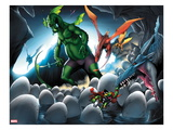 Avengers vs. Pet Avengers 4: Fin Fang Foom and Throg Saving Eggs Prints by Ig Guara