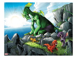 Avengers vs. Pet Avengers No.4: Fin Fang Foom Sitting on a Cliff Posters by Ig Guara