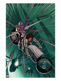 Avengers: Solo No.4 Cover: Hawkeye Shooting His Bow and Arrow on a Motorcycle in Mid-Air Prints by John Tyler Christopher