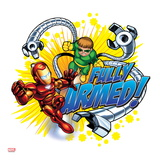 Marvel Super Hero Squad: Fully Armed! Iron Man and Doctor Octopus Flying Art