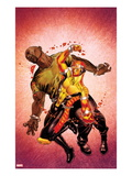 Shadowland: Power Man 2 Cover: Power Man and Luke Cage Fighting Print by Mike Perkins