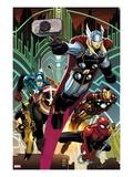 Avengers No.5 Cover: Thor, Captain America, Spider-Man, Iron Man, and Wolverine Flying Art par John Romita Jr.