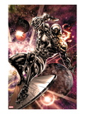 Silver Surfer 2: Silver Surfer Riding His Silver Surf Space Print by Harvey Tolibao