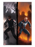 Captain America No.619 Cover: Winter Soldier and Steve Rogers Standing Ready Posters by Marko Djurdjevic