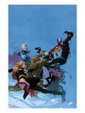 Uncanny X-Force No.5 Cover: Fantomex, Ms. Marvel, Steve Rogers, Hawkeye, Thing, and Spider-Man Print by Esad Ribic