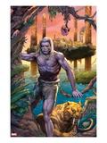 Ka-Zar No.1: Ka-Zar and Zabu Walking in the Jungle Prints by Pasca Alxie