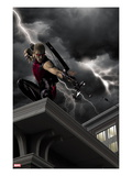 Ultimate Hawkeye 2 Cover: Hawkeye Crouching and Shooting a Bow and Arrow Art by Kaare Andrews