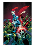 Captain America No.10 Cover; Captain America and Falcon Fighting Others Prints by Alan Davis