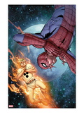 The Amazing Spider-Man No.681 Cover: Human Torch and Spider-Man in Space Posters by Giuseppe Camuncoli