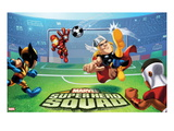 Marvel Super Hero Squad: Wolverine, Iron Man, Thor, and Falcon Kicking Prints