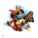 Marvel Super Hero Squad Badge: Iron Man, Thor, Nick Fury, and Wasp Flying Prints