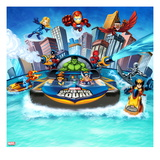 Marvel Super Hero Squad: Invisible Woman, Iron Man, Hulk, Cyclops, Thor, and Wolverine Flying Prints
