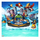 Marvel Super Hero Squad: Invisible Woman, Iron Man, Falcon, Hulk, Spider-Man, Thor, and Wolverine Posters