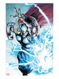 Marvel Adventures Super Heroes 19: Thor Throwing Mjolnir with Lightning and Energy Print by Stephen Segovia