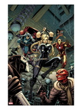 Fear Itself: The Fearless No.6 Cover: Valkyrie, Iron Man, Captain America, Sin, and Crossbones Posters by Arthur Adams