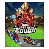 Marvel Super Hero Squad: Thor, Spider-Man, Iron Man, Thing, and Wolverine Riding Print