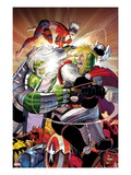 Avengers No.6 Cover: Thor and Hulk Fighting Posters av John Romita Jr.