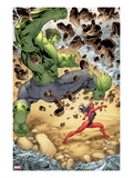 Incredible Hulks No.613: Hulk and Red She-Hulk Fighting Print by Tom Raney