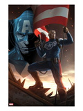 Captain America No.617 Cover: Steve Rogers Standing with a Flag and Gun Print by Marko Djurdjevic